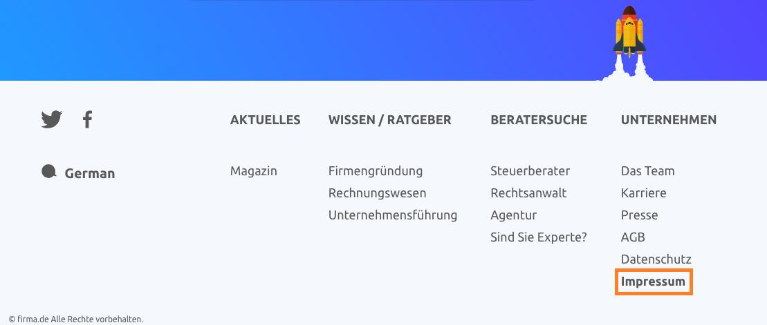 Screenshot Footer firma.de